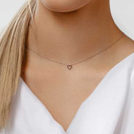 Diamond necklace Tender Heart, 14K gold na těle