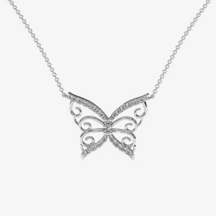Diamond necklace Butterfly, 14K gold