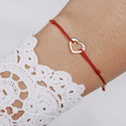 Brilliant bracelet with cord Love, 14kt zlato na těle