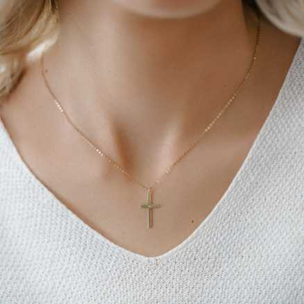 Brilliant necklace Cross, 14kt zlato na těle