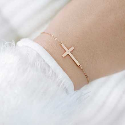 Brilliant bracelet Cross, 14kt zlato na těle