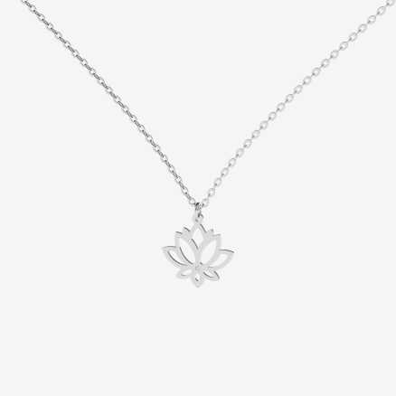Diamond necklace Lotus Flower, 14K gold