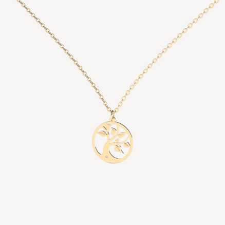 Diamond necklace Tree of Life, 14K gold