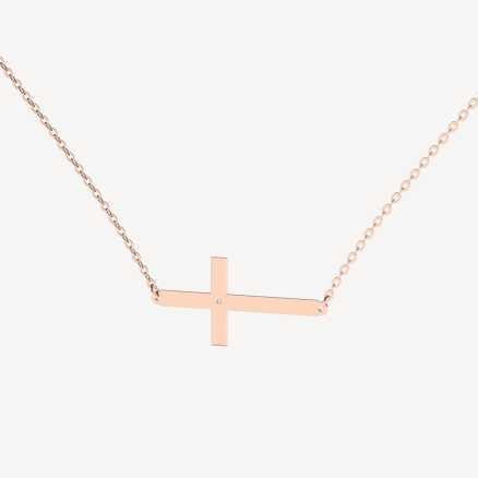 Brilliant necklace Cross, 14kt zlato