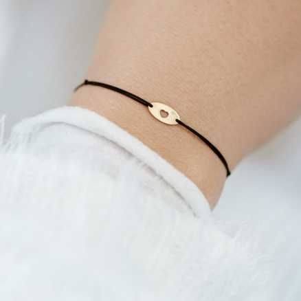 Diamond bracelet with cord Gold Heart, 14K gold na těle