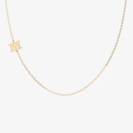 Brilliant necklace Letter M, 14kt zlato