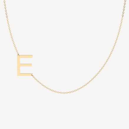 Diamond necklace Letter E, 14K gold