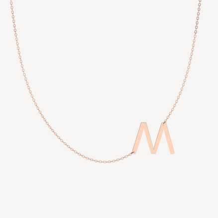 Diamond necklace Letter M, 14K gold