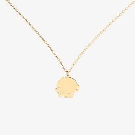 Brilliant necklace Elephant, 14kt zlato