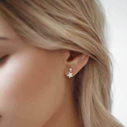 Diamond earrings Amazing Night, 14K gold na těle