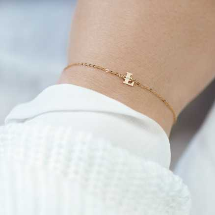 Diamond bracelet Big J, 14K gold na těle