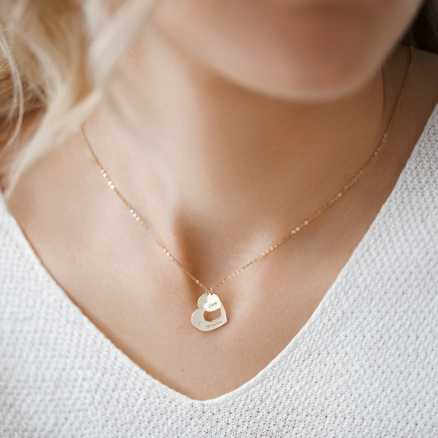 Diamond necklace Love Forever, 14K gold na těle