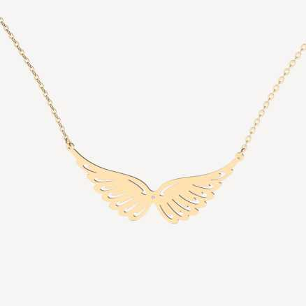 Brilliant necklace Wings, 14kt zlato