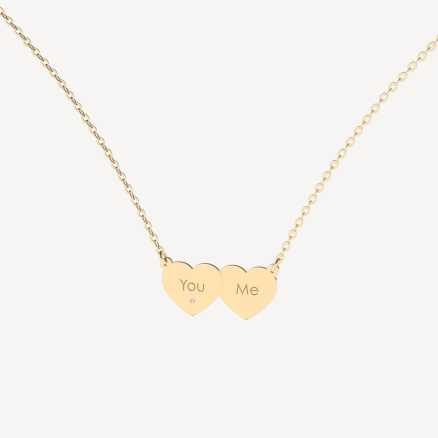 Brilliant necklace You & Me, 14kt zlato