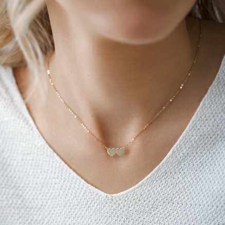 Brilliant necklace You & Me, 14kt zlato na těle