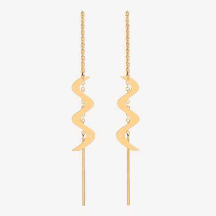 Brilliant earrings Wave, 14kt zlato