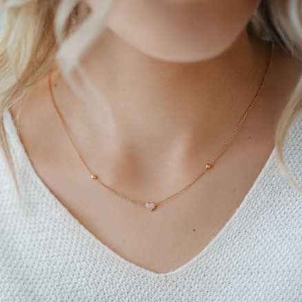Brilliant necklace Love Waterfall, 14K gold na těle
