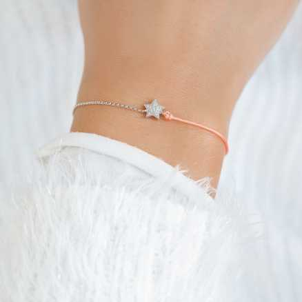 Brilliant bracelet with cord Be a Star, 14kt zlato na těle
