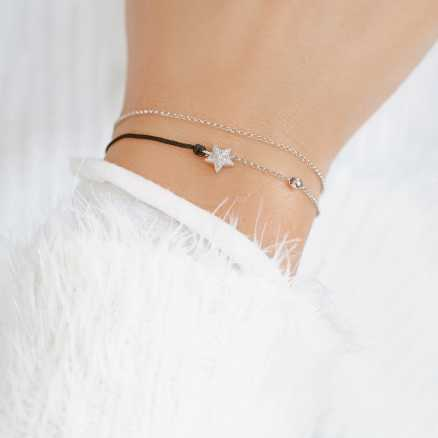 Diamond bracelet with cord Dream Message, 14K gold na těle