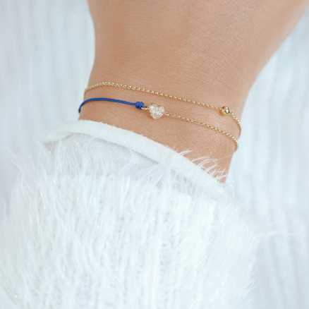 Bracelet with cord and brown diamonds Love Message, 14K gold na těle
