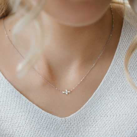 Diamond necklace Glamour Treasure, 14K gold na těle