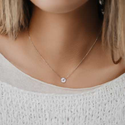 Diamond necklace My World, 14K gold na těle