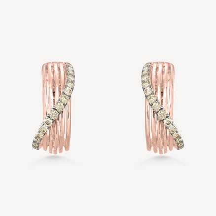 ALO Rose and black gold earrings with diamonds Fresh Waves, 14kt zlato