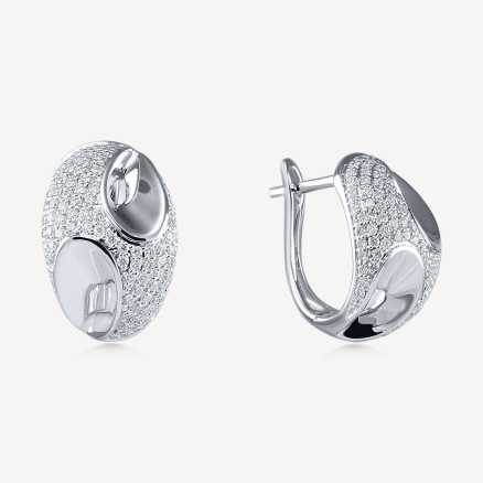ALO White gold earrings with diamonds Fairytale Gem, 14kt zlato