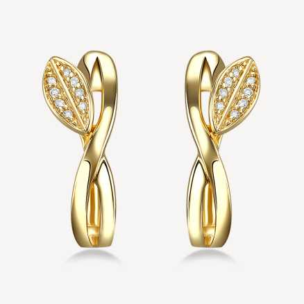 ALO Yellow gold earrings with diamonds Spring Celebration, 14kt zlato