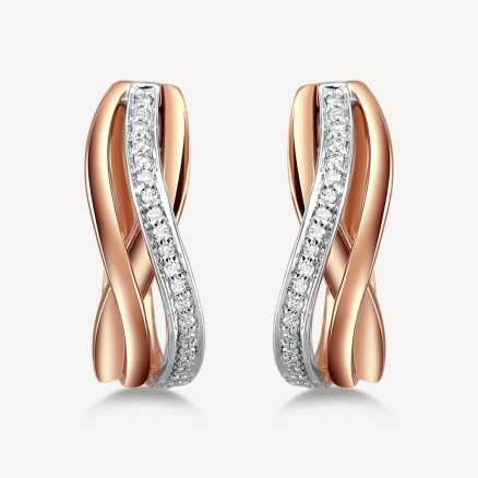 ALO Rose and white gold earrings with diamonds Glorious Secret, 14kt zlato