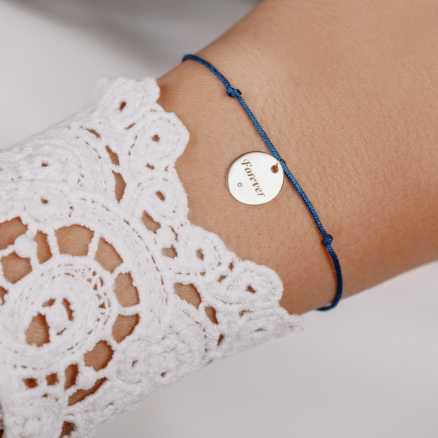 Brilliant bracelet with cord Love Text, 14kt zlato na těle
