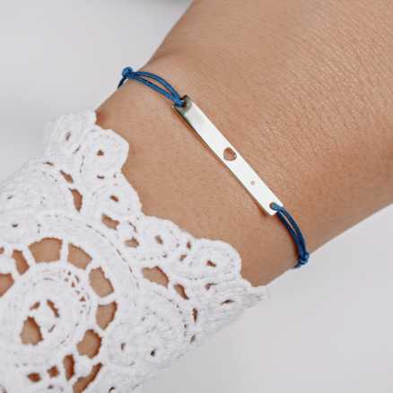 Brilliant bracelet with cord Love U, 14kt zlato na těle