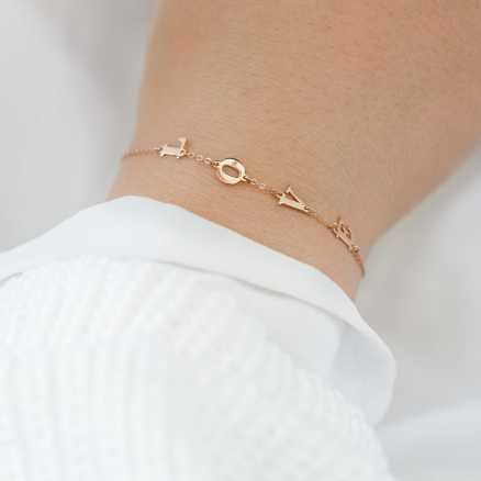 Diamond bracelet LOVE, 14K gold na těle