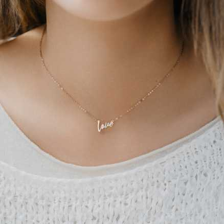 Diamond necklace Love Maker, 14K gold na těle