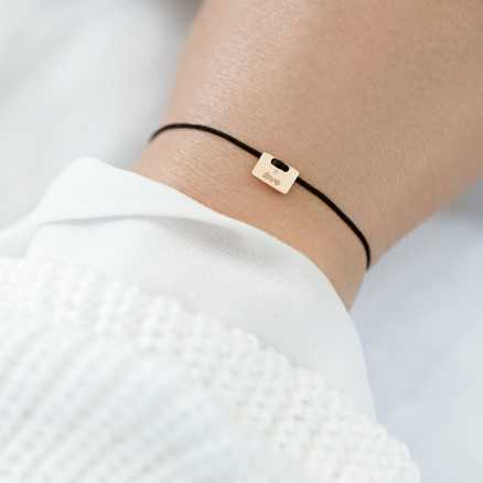Brilliant bracelet with cord Military Stamp Love, 14kt zlato na těle