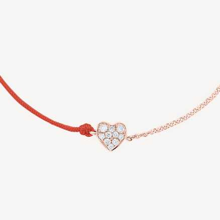 Diamond bracelet with cord Little Heart, 14K gold