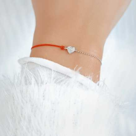 Diamond bracelet with cord Little Heart, 14K gold na těle