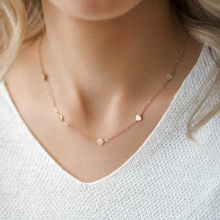 Brilliant necklace Little Hearts, 14kt zlato na těle